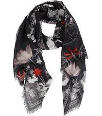alexander mcqueen black modal-wool blend scarf