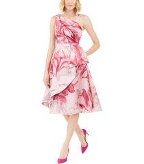adrianna papell printed mikado midi dress