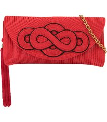 shanghai tang braided knot clutch - red