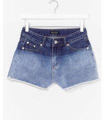 womens dip dye denim shorts - blue