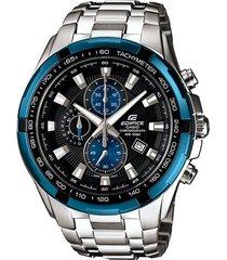 reloj casio para hombre ef-539d-1a2 plateado con azul acero inoxidable