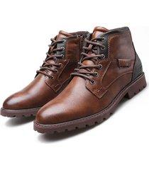 hombres estilo retro británico con cordones de cuero con cremallera lateral martin botas