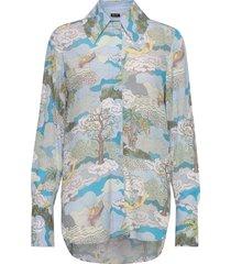 james, 843 dreamscape viscose blouse lange mouwen blauw stine goya