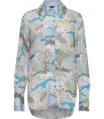 james, 843 dreamscape viscose blouse lange mouwen blauw stine goya