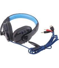 er audifonos sy733mv rodean auriculares para juegos con un pañuelo en la cabeza micrófono del auricular de 3,5 mm no luminosa de color azul oscuro (sin entrega de paquetes).