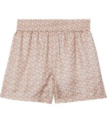 burberry monogram silk twill shorts - pink
