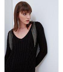 motivi maglia a losanghe con frange di strass donna nero