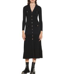 women's sandro long sleeve sweater dress, size 8 us - black