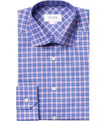 men's big & tall eton contemporary fit plaid dress shirt, size 18 - pink