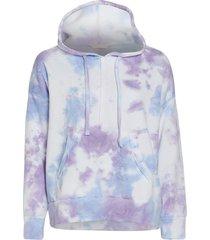 free people women's work it out tie dye hoodie - purple combo - x-small cotton top