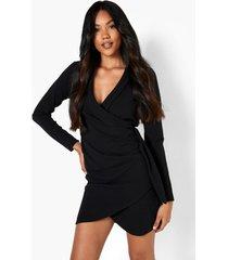 gedrappeerde wikkel blazer jurk, black
