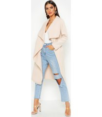 belted waterfall coat, stone