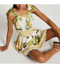 river island womens cream floral print shirred waist beach dress