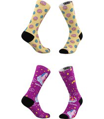 women's tribe socks assorted 2-pack sweet dreams & frosted donuts crew socks, size one size - yellow