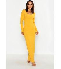 long sleeve scoop neck ribbed maxi dress, mustard