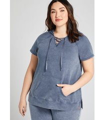 lane bryant women's livi hoodie - lace-up french terry 26/28 night sky