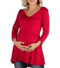 24seven comfort apparel three quarter sleeve v-neck maternity tunic top