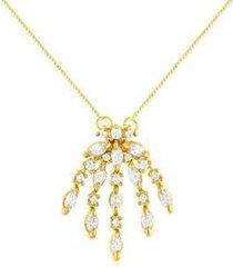colar estelle semijoias zircônias kiara banhado ouro 18k feminino - feminino