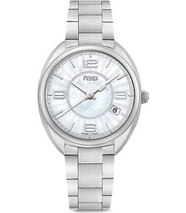 momento fendi mother-of-pearl & stainless steel bracelet watch