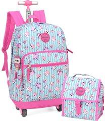 kit mochila de rodinha 360 lancheira e estojo coruja up4you luxcel 51269 rosa