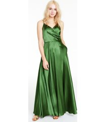 morgan & company juniors' satin drape-front gown