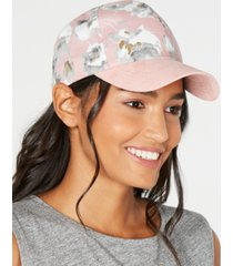 inc floral suede baseball cap, created for macy's