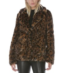 tahari leopard-print faux-fur coat, created for macy's