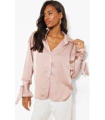 oversized satijnen blouse met mouwstrikjes, rose