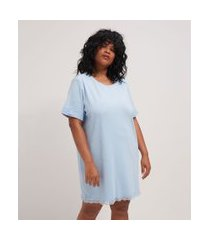 camisola manga curta lisa com detalhes em renda curve & plus size | ashua curve e plus size | azul | gg