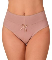 calcinha vip lingerie cintura alta algodão bege