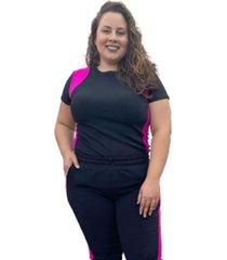 t-shirt canelado com recortes corpusfit plus size - preto e rosa chock