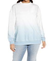 plus size women's bp. dip dye crewneck sweatshirt, size 1x - blue