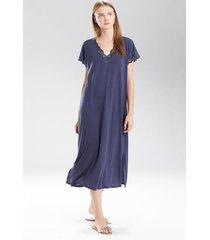 natori zen floral t-shirt nightgown, women's, blue, size l natori