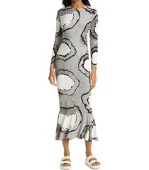 women's norma kamali tie dye long sleeve fishtail dress, size x-large - black