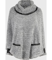 sweater nrg peludito gris - calce oversize