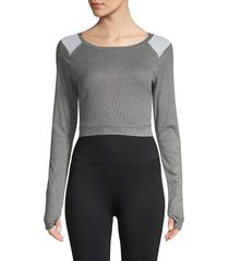 blanc noir women's ribbed crop top - heather grey - size l