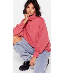 womens slouch that hurts turtleneck sweater - rose