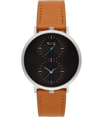 uri minkoff men's griffith brown leather strap watch 43mm