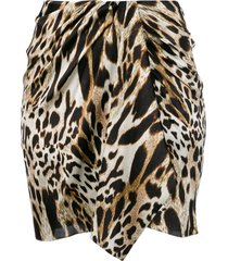 alexandre vauthier leopard print mini skirt - brown