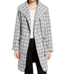 women's halogen moto tweed coat, size x-large - white