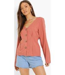 geweven blouse met knopen en geplooide taille, rust