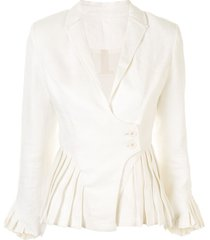 alexis pleated detail short blazer - white