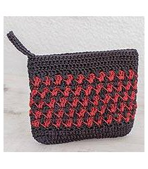 crocheted cosmetic bag, 'zigzag textures in crimson' (guatemala)
