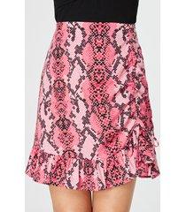 yoins rosa falda ajustada con dobladillo con volantes y estampado de serpiente