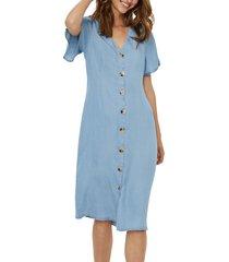 women's vero moda viviana button front denim dress, size medium - blue
