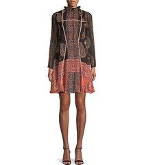 mockneck paisley mini dress