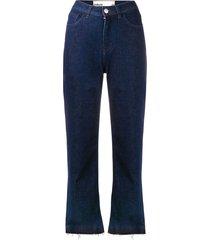 haikure frayed hem denim trousers - blue