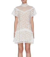 flounce hem lace mini dress