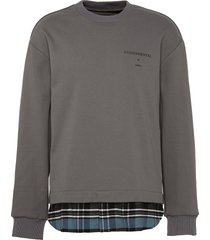 fundamental slogan print flannel hem sweatshirt
