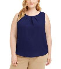 nine west plus size pleated-neck blouse